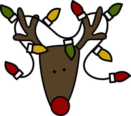 flew: Looks like Rudolph flew into a string of Christmas lights  All the better to guide his Christmas flight.