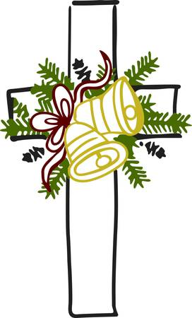 Decorate for Christmas with this unique cross and holiday arrangement.  It is a tasteful and elegant embellishment for church holiday decor. Illustration