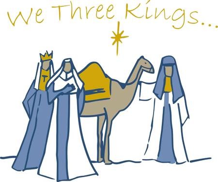 adds: In this classic Christmas design three kings bring gifts to the baby Jesus.  We love the simplistic line drawing and the way it adds elegance to holiday linens of all kinds.