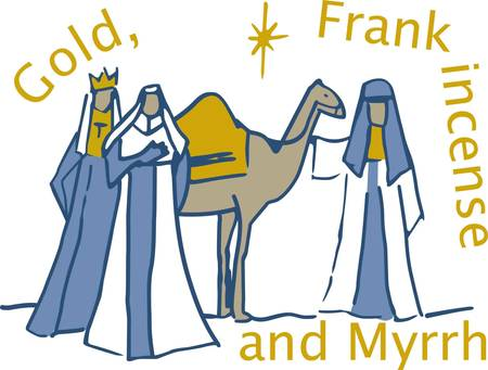 In this classic Christmas design three kings bring gifts to the baby Jesus.  We love the simplistic line drawing and the way it adds elegance to holiday linens of all kinds.