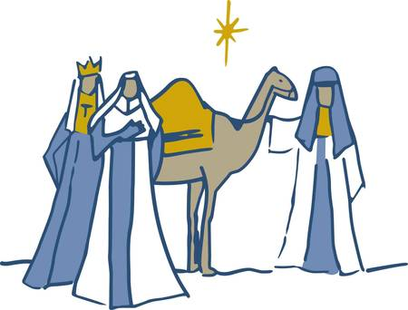 frankincense: In this classic Christmas design three kings bring gifts to the baby Jesus.  We love the simplistic line drawing and the way it adds elegance to holiday linens of all kinds.
