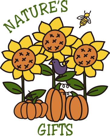 squash bug: Embrace natures beauty in a whimsical way with these garden friends.  Pumpkins sunflowers and a little honey bee are perfect for home dcor or a ladies jacket.