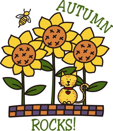 squash bug: Autumn rocks in a whimsical way with these garden friends.  A kitty friend sunflowers and a little honey bee are perfect for home dcor or a ladies jacket. Illustration