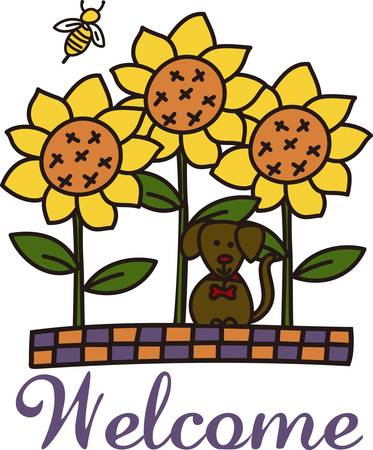 Autumn rocks in a whimsical way with these garden friends.  A kitty friend sunflowers and a little honey bee are perfect for home dcor or a ladies jacket. Illustration