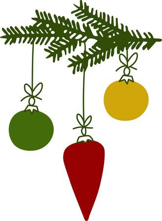 brighten: Celebrate Christmas with colorful Christmas tree ornaments to brighten up the occasion. Illustration