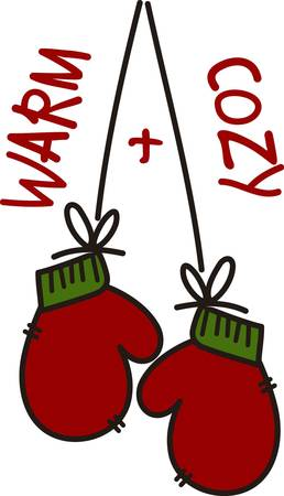 cozy: Warm and cozy mittens is waiting for outdoor fun.  They are perfect for the holidays with their traditional red and green.