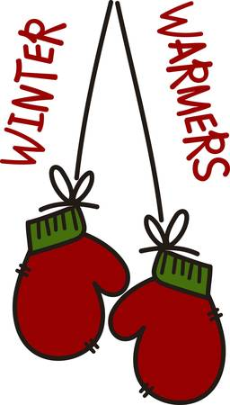 Warm and cozy mittens is waiting for outdoor fun.  They are perfect for the holidays with their traditional red and green.