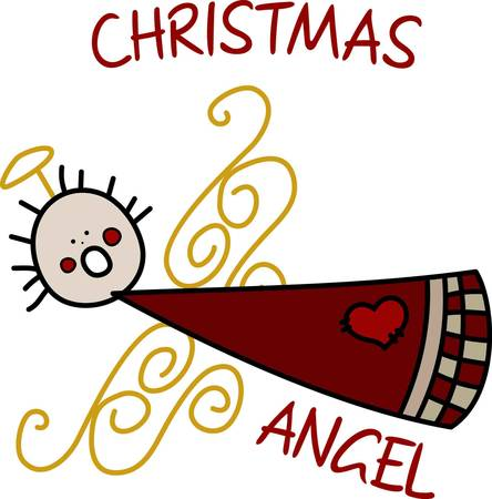 wherever: We love this angel with her swirls for wings adding just a touch of something different  She sings holiday greetings from wherever you choose to stitch her