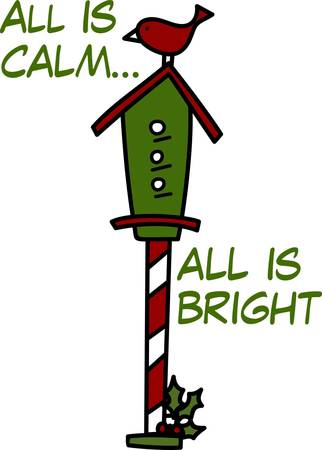 striping: A little red bird seems to be guarding her holiday home.  The candy cane striping on the pole create an eyecatching appeal. Illustration