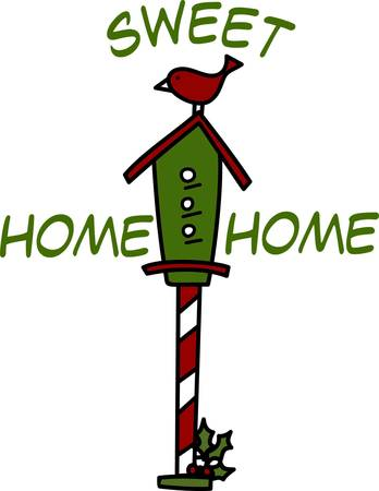 appeal: A little red bird seems to be guarding her holiday home.  The candy cane striping on the pole create an eyecatching appeal. Illustration