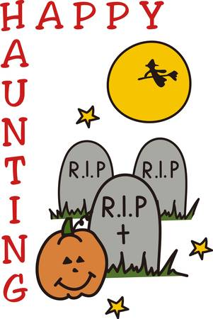 A witch flies across the moon and bats flutter about  it must be Halloween in the graveyard  Great party invitation art