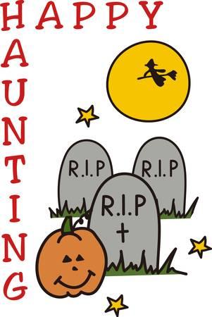 cripta: Una strega vola attraverso la luna e pipistrelli svolazzano su di esso deve essere Halloween nel cimitero Grande invito a una festa di arte Vettoriali