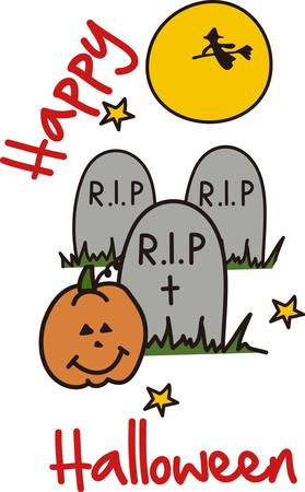 rest in peace: A witch flies across the moon and bats flutter about  it must be Halloween in the graveyard  Great party invitation art