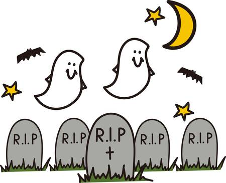 headstone: Bats and ghosts flutter about - it must be Halloween night in the graveyard!  Great party invitation art! Illustration