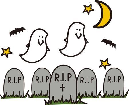 cripta: Pipistrelli e fantasmi svolazzano su - deve essere la notte di Halloween nel cimitero! Grande festa invito arte! Vettoriali