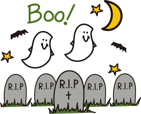 Bats and ghosts flutter about - it must be Halloween night in the graveyard!  Great party invitation art! Çizim