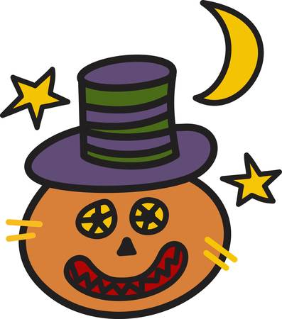 glows: A most unusual jack o lantern glows against a backdrop of Halloween sky. Such a fun tee shirt decoration.