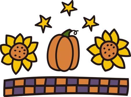 caes: Girasoles y calabazas hacen una declaraci�n hermosa en los colores del oto�o. A�adir una tira comprobado y usted tiene la frontera perfecta para sus manteles oto�o! Vectores