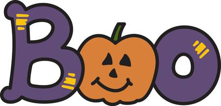 boo: Candy corn and pumpkins come together to create a Halloween boo  What a lovely graphic for your trick or treat bag. Illustration