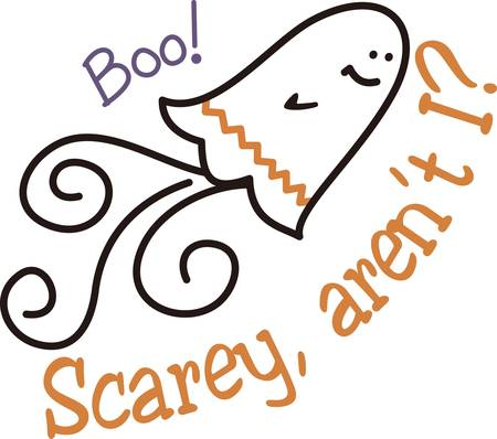 spook: A chevron stripe and a swirl of a tail turn this ghost to a trendy spook.  This phantom of Halloween is great on kids shirts or decorations for your spooky party.