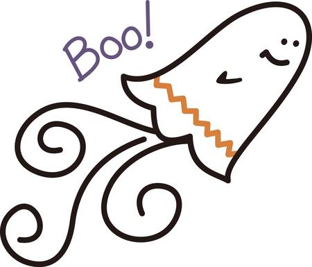 phantom: A chevron stripe and a swirl of a tail turn this ghost to a trendy spook.  This phantom of Halloween is great on kids shirts or decorations for your spooky party.