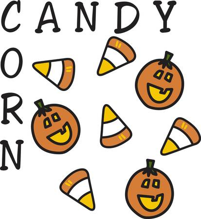 Feed the sweet tooth with sugary candy corn  Join this design end to end to create a sweet border. 向量圖像