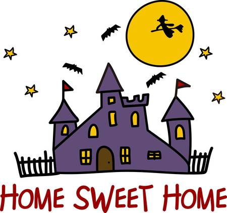 crone: A perfect home for all the trickortreat spooks  Lots of frights for Halloween night in this house of horrors  Great invitation art Illustration