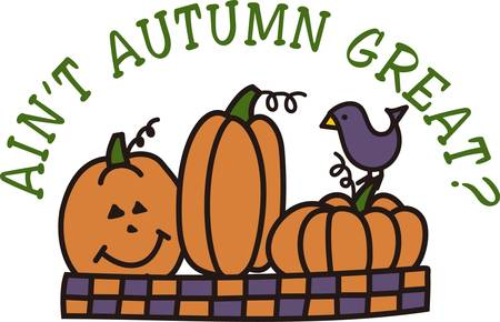 Jack o lanterns pumpkins and a cute little bird create a design great for both Halloween and the entire fall season.  The checked lower border make it great for edging.