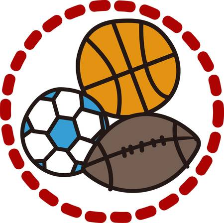 Football soccer and basketball  the sports are all here  Create something for your favorite athlete with this design.  Perfect for duffle bags