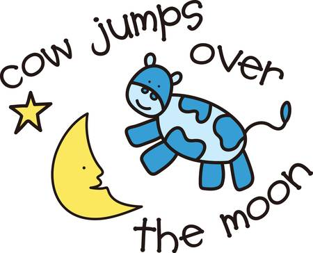 This cute design of the cow jumping over the moon makes the perfect gift to babys nursery.  Mom and dad will love it Ilustrace