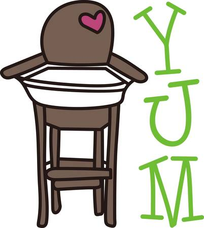 high chair: This cute design of a high chair is perfect to add to the perfect gift for babys nursery.  Mom and dad will love it Illustration