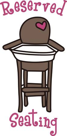 booster: This cute design of a high chair is perfect to add to the perfect gift for babys nursery.  Mom and dad will love it Illustration