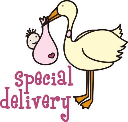 Der Storch macht eine spezielle Lieferung zu Mama und Papa. Dies ist der perfekte Entwurf, zum Baby zu Hause willkommen zu heissen. Jeder wird es lieben Standard-Bild - 40650037