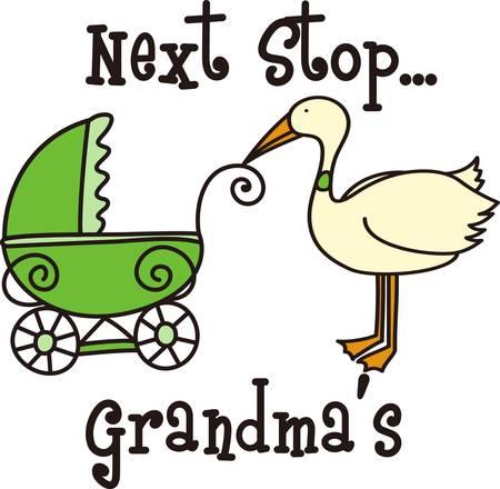 Der Storch macht eine spezielle Lieferung zu Mama und Papa. Dies ist der perfekte Entwurf, zum Baby zu Hause willkommen zu heissen. Jeder wird es lieben Standard-Bild - 40650087