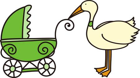 The stork makes a special delivery to mom and dad.  This is the perfect design to welcome baby home.  Everyone will love it