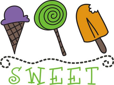 sweeten: A sweet row of frozen treats is such a yummy way to sweeten up your project.  We love it to edge kids and baby blankets and bed sheets. Illustration