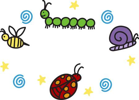 centipede: Kids enjoy spending time at the park.  This is the perfect design to take with you.  Everyone will love these adorable ladybugs snails bee and centipede