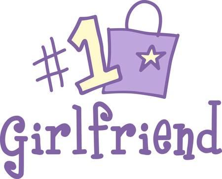 彼女があなたのリストにこの番号は 1 を立ってあなたのガール フレンドを表示デザインは、あなたの愛情のかわいいとビジュアル アラーム  イラスト・ベクター素材