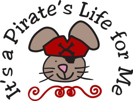 eye patch: Our little buccaneer mouse is a sweet way to add a pirate theme for your kid projects.  Love the swirls and eye patch  what a great touch Illustration