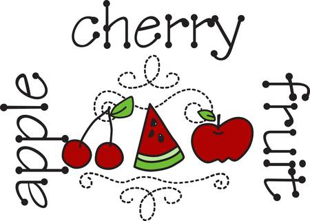accents: Picnic fruit treats make this design truly delicious  The swirly stitching accents create a perfectly pulled together look.