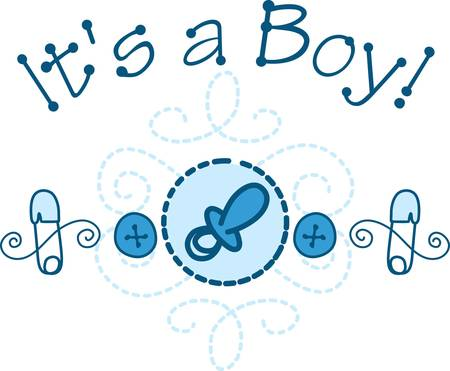 Welcome the new baby boy with this cute design of baby necessities.  The swirly stitching complete the eye catching appeal of this fun design.