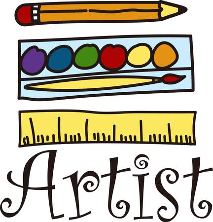 水彩ブラシと壮大な何かインスパイアのアーティストを作成する準備を取得します。 この楽しい描画はアーティスト エプロンに最適です。  イラスト・ベクター素材