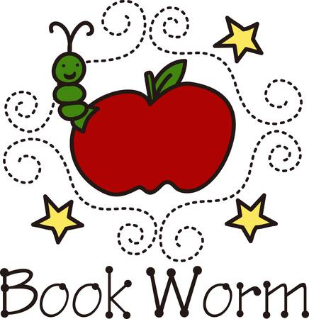 bookworm: Decorate for that special student with our happy bookworm and apple design.  The swirl frame of long stitches creates a polished pulled together look.