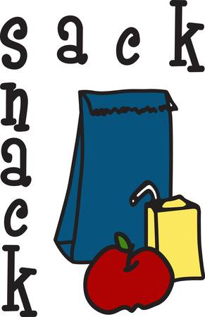 apple sack: A lunch time tradition  a paper bag with juice box and fruit.  This is a creative way to decorate a lunch tote to carry yummy special treats