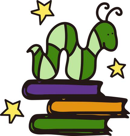 avid: Get reading  This cute drawing is a lovely way to decorate for your school library.  It is great on book bags Illustration