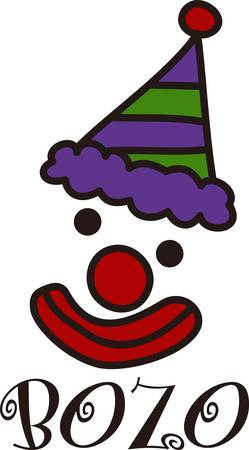brighten: Share some laughter share some smiles with our funny clown design.  He is just what you need to brighten up a bag or hat