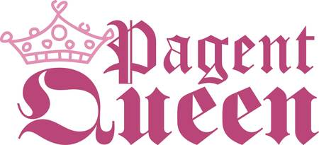 Recognize the drama queen of the household with this cute crown and text design.  It is the perfect way to embellish hats and shirts as well as deco items like a pillow for the queens chambers Ilustração