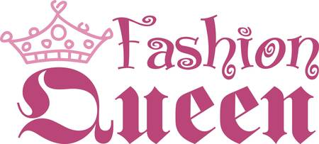 embellish: Recognize the drama queen of the household with this cute crown and text design.  It is the perfect way to embellish hats and shirts as well as deco items like a pillow for the queens chambers Illustration