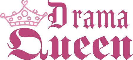 coronation: Recognize the drama queen of the household with this cute crown and text design.  It is the perfect way to embellish hats and shirts as well as deco items like a pillow for the queens chambers Illustration