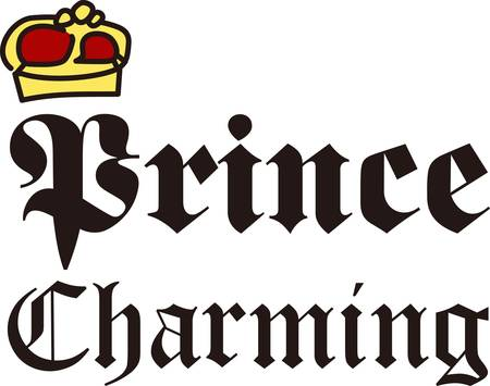 embellish: Here is an idea for the prince of the household  this cute crown and text design.  It is the perfect way to embellish hats and shirts as well as deco items like a pillow for the princes chamber